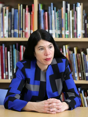 Alycia Meriweather, 42, of Detroit is the new interim superintendent of Detroit Public Schools. She sits down with the Detroit Free Press Tuesday, March 15, 2016 in the library of  Golightly Education Center.