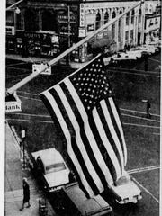The American flag on the Asbury Park Press building in Press Plaza was immediately moved to half-staff on Nov. 22, 1963, after the wire services reported that President John F. Kennedy had been assassinated in Dallas.