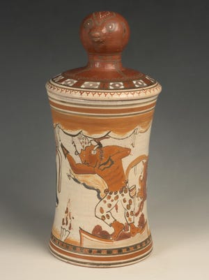 A lidded vessel front that will be on display at the Dowd Gallery at SUNY Cortland.
