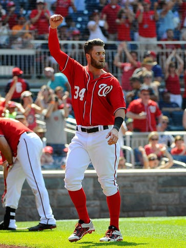 Bryce Harper is tied for the league lead with 17 home