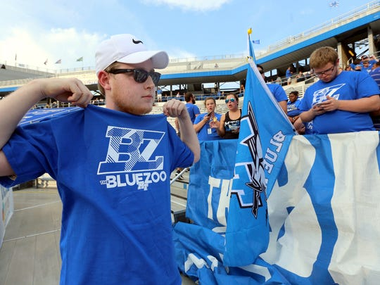 Aaron Grisham, sports his Blue Zoo shirt as he tries to pump up the crowd before an MTSU game. Homecoming is this weekend.