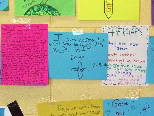 Messages left by fellow students at a memorial for Canutillo Middle School student Diego Fernandez Friday.