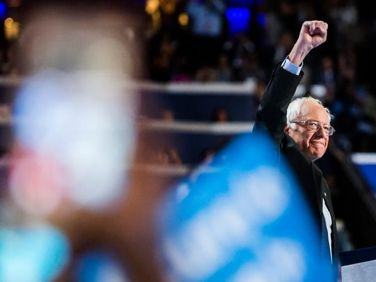 Sen. Bernie Sanders takes the stage at the Democratic National Convention at the Wells Fargo Center in Philadelphia on Monday.