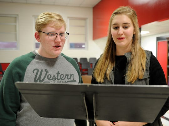 Austin Taack, left, and Mary-Grace Scales are students and members of the Rider High School and Wichita Falls High School choirs. The two are the first Wichita Falls students to qualify for All State Choir since 2011.