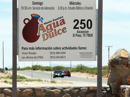 A sign in front of the Agua Dulce Baptist Mission along Ascencion Road in the Agua Dulce Colonia Tuesday.