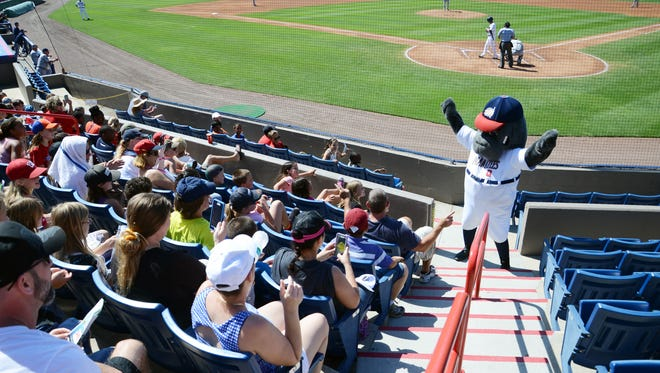Manny the Manatee cheers on the crowd during Wednesday's Brevard County Manatees game at Space Coast Stadium.