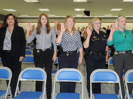Bossier deputies take the oath of office.