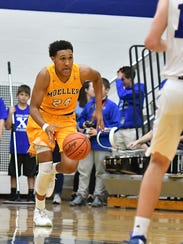 Jeremiah Davenport sprints up the floor on a Crusaders