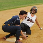 Marlboro's Cassie LaPointe slides into Highland's third baseman Mollee Stafford during Tuesday's game at Marlboro.