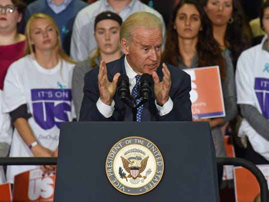 Students listen as Vice President Joe Biden speaks at Clemson University about sexual assault on campus.
