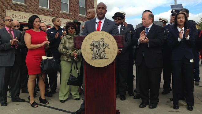 Detroit's new interim Executive Fire Commissioner Eric Jones speaks after being introduced by Mayor Mike Duggan atEngine 54/Ladder 26, locatedat 16825 Trinity at Grand River on Wednesday, Oct. 14, 2015. He replacesEdselJenkins, who announced his decision to retire after 29 years of service.