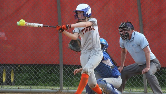 Tuckahoe's Jessica Berger gets a hit during the Class
