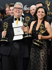 Producer David Mandel (L) and actress Julia Louis-Dreyfus