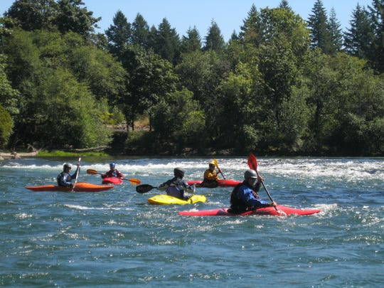 Kayaking on the North Santiam River.