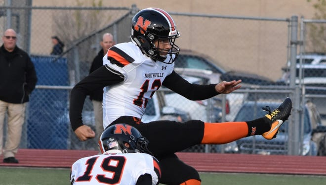 Northville kicker Jake Moody kicks a field goal in a game this season. Moody set a school record with a 57-yarder to open the season.