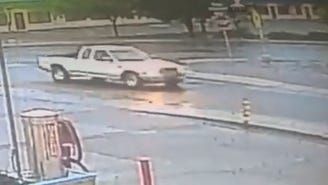 A truck suspected in a hit-and-run with a shopping center at 151 S. Solano Drive the morning of June 16, 2018 is seen driving by a nearby car wash after the incident. Businesses in the shopping center are seeking Las Crucens' help to identify the driver.