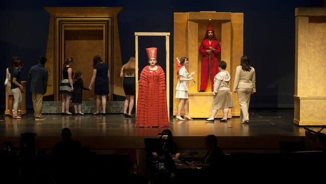 """Cast members of Lenape High School's production of """"Aida"""" take part in a dress rehearsal in the school's auditorium recently. The play will open on March 2 at 7 p.m. at the auditorium and is an ambitious production for a high school theater group to take on."""