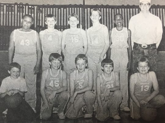 The Union County Junior Varsity Braves basketball team competed in the state tournament and tied for third place with Hopkinsville in March 1988. Pictured front row from left are team members Shane Duckworth, manager Ryan Phillips, Monty Gibson, Ryan Elder and Micah Johnson. Back row, Chris Frazier, Michael Duckworth, Ryan Greenwell, Jeremy Collins, Don Baymon, and Coach Ronnie Duckworth.