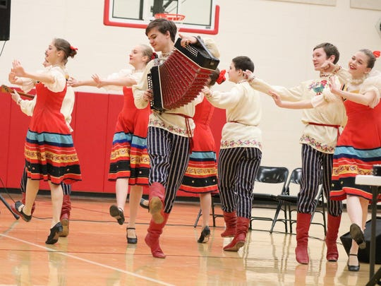 The Golden Gates, a Russian and Georgian dance troupe, performed for Port Clinton Middle School as part of their tour across the United States.