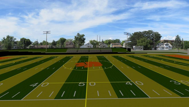 An architect's rendering shows what an improved Clark Field would look like.
