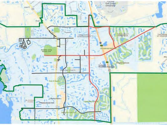 #file Draft map of Estero and Lee County's road agreement