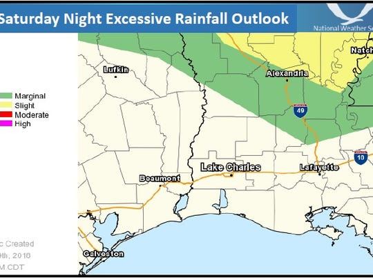 1-3 inches of rain is expected locally Saturday night