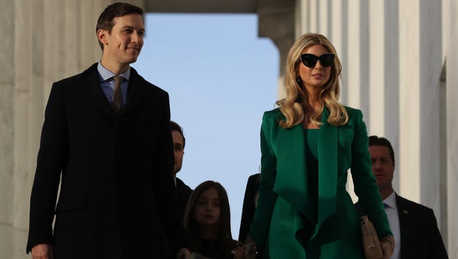 Ivanka Trump (R) and husband Jared Kuchner arrive at the Lincoln Memorial for pre-inaugural welcome concert, Jan. 19, 2017.