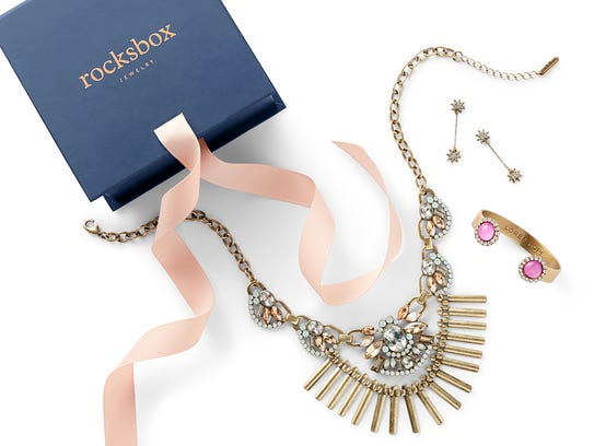 This photo provided by Rocksbox shows a Rocksbox jewelry