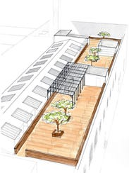 A rendering of the new rooftop deck.