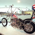 "A replica of the motorcycle Peter Fonda rode in ""Easy Rider"" on displayin 1998 at the Guggenheim Museum in New York."