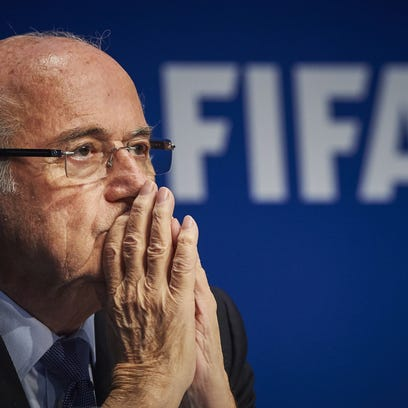 FIFA president Sepp Blatter holds a press conference