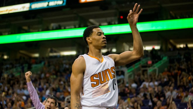 Suns forward Gerald Green celebrates after hitting a 3-pointer during a game at US Airways Center against the Utah Jazz on April 4, 2015, in Phoenix.