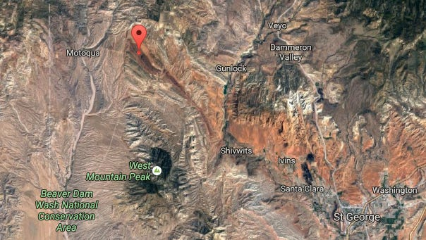 The red icon shows the GPS coordinates of a hiker who fell on Sunday.