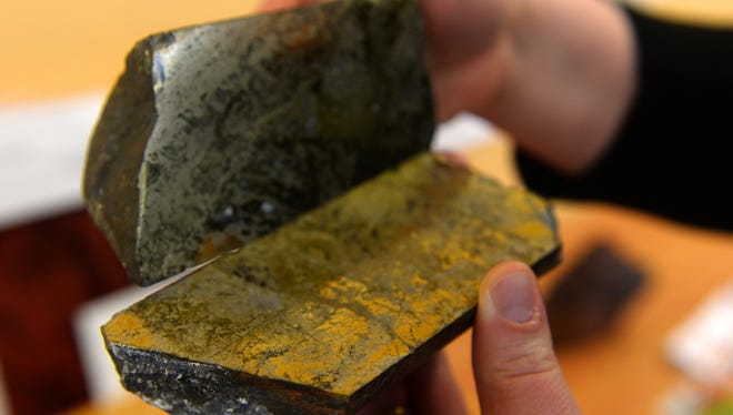 A core sample shows the copper content from rock taken from the Johnny Lee copper deposit north of White Sulphur Springs.