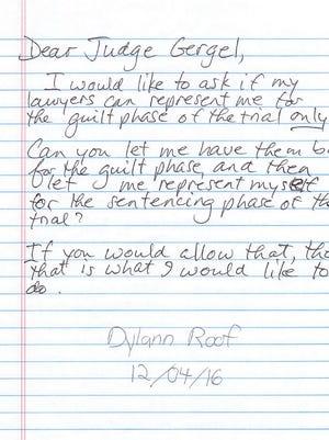 Dylann Roof's handwritten motion.