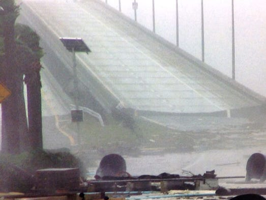 The Bob Sikes Bridge to Pensacola Beach was rendered impassable by the storm.