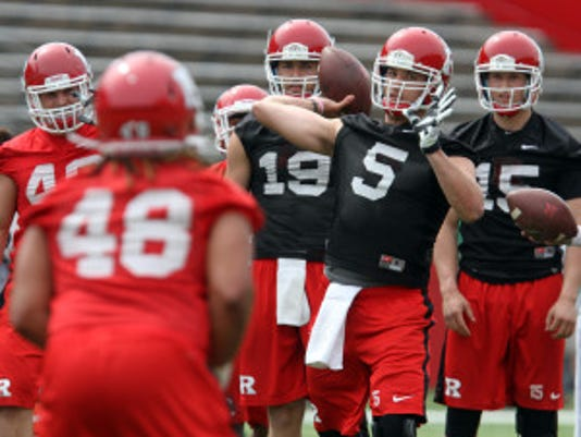 Rutgers quarterback Chris Laviano is battling for a place on the depth chart with Gary Nova and Mike Bimonte during training camp. (File photo)