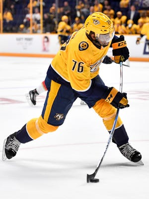 Predators defenseman P.K. Subban (76) shoots against the Florida Panthers during the first period in the first game of a preseason doubleheader Tuesday, Sept. 19, 2017, at Bridgestone Arena.