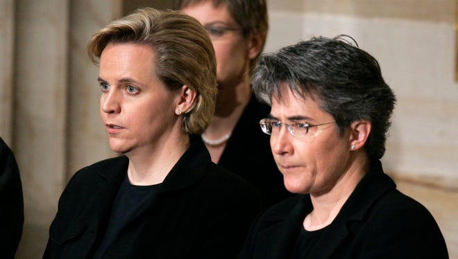 Mary Cheney, left, and Heather Poe, pictured here in 2006, were married in the District of Columbia in 2012.