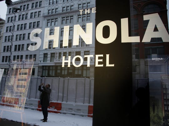 Founder and Chairman of Quicken Loans Dan Gilbert along with Shinola CEO Tom Lewand, formally broke ground at the new Shinola Hotel location on Woodward Avenue in Detroit Tuesday Jan. 31, 2017.