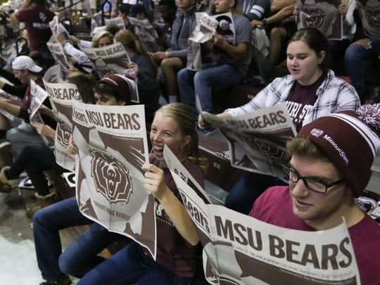 Missouri State fans feign reading the newspaper before a 2016 game at JQH Arena.