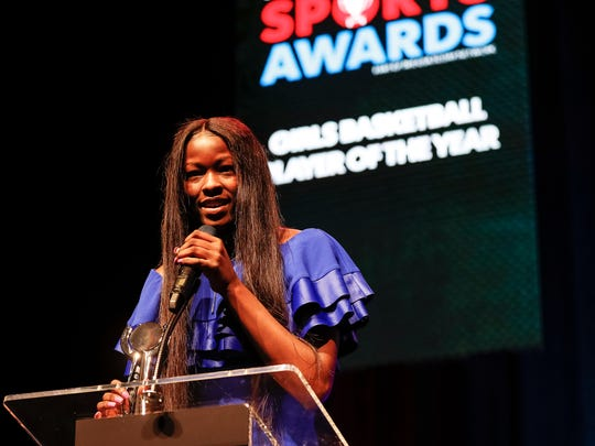 Girls Basketball Playerof the Year Rickea Jackson speaks during the Detroit Free Press Sports Awards on May 18, 2018 at The Fillmore Detroit.