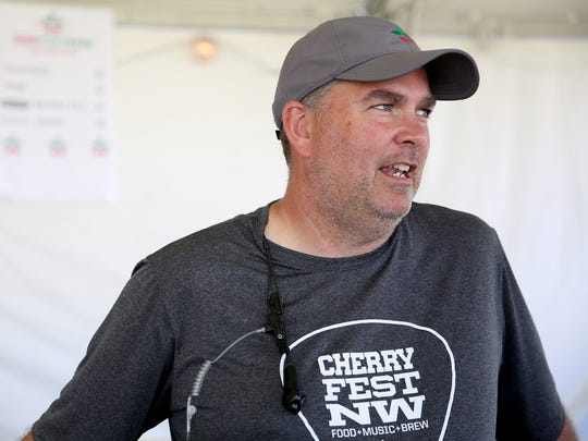 Jason Unruh, an organizer of Cherryfest NW, at Riverfront Park in Salem on Saturday, July 7, 2018. This is the first big event held at a public park since the city's new hard alcohol ordinance has gone into effect.