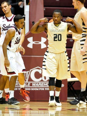 Oakland Golden Grizzlies guard Kay Felder (20) reacts during a game against the Southern Illinois Salukis at SIU Arena.