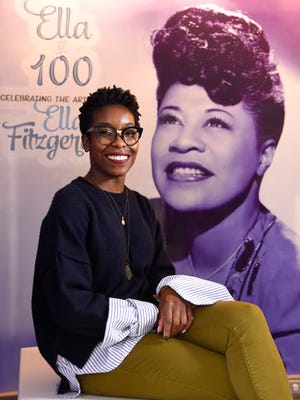 "Nwaka Onwusa, curator of The Grammy Museum at L.A. Live, poses for a portrait at a sneak preview of ""Ella at 100: Celebrating the Artistry of Ella Fitzgerald"" at The Grammy Museum at L.A. Live on Monday, April 24, 2017, in Los Angeles."