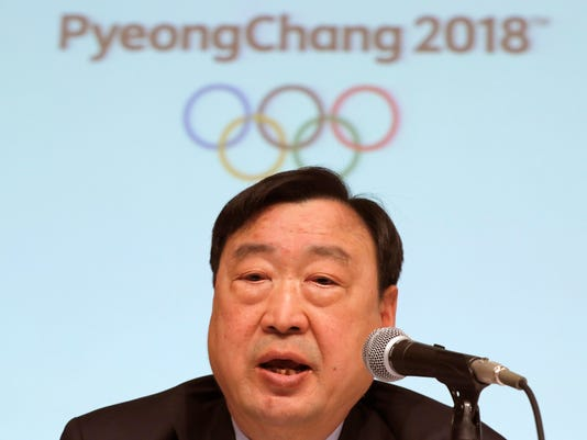 Lee Hee-beom, president and CEO of the Pyeongchang Organizing Committee for the Olympic and Paralympic Winter Games (POCOG), delivers speech during a media conference in Sapporo, northern Japan, Tuesday, Feb. 21, 2017. Lee  expects the 2018 Olympics to usher in a new era for winter sports in Asia. (AP Photo/Eugene Hoshiko)