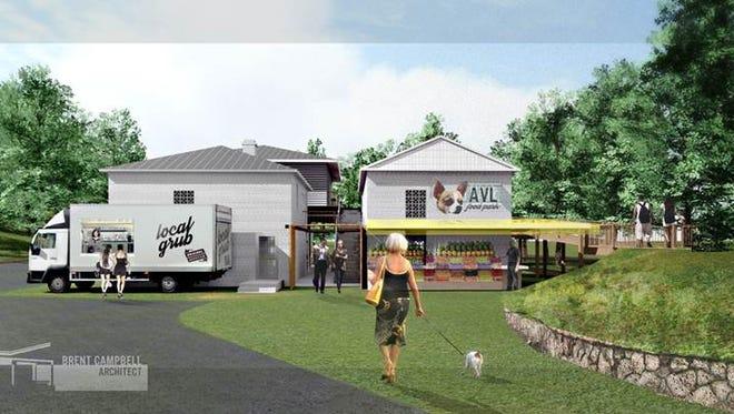 Original rendering of the Asheville Food Park.