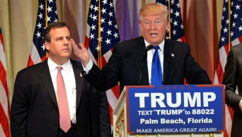 Donald Trump, with New Jersey Gov. Chris Christie, in Palm Beach, Fla., on March 1, 2016.