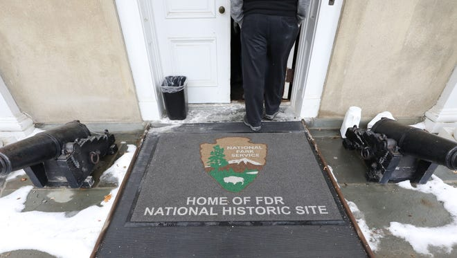 The entry mat in front of the home of Franklin D. Roosevelt, at the Franklin D. Roosevelt National Historic Site in Hyde Park, Jan. 11, 2018.