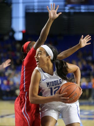 MTSU's Brea Edwards (12) is getting closer to becoming a professional basketball player.